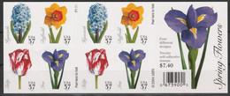 Usa 2005 Carnet Fleurs Du Printemps Tulipe Iris Jonquille Jacinthe Usa Spring Flowers Booklet Tulip Daffodil Hyacinth - 1981-...
