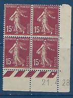 "FR Coins Datés YT 189 I "" Semeuse Camée 15c. Brun-lilas "" Neuf** Du 21.4.28 - ....-1929"