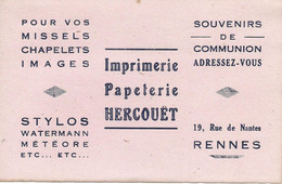 RENNES ----Imprimerie  Papeterie  HERCOUET - Stationeries (flat Articles)