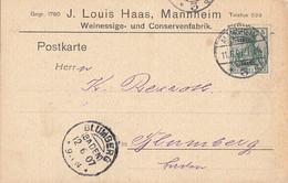 DR Karte EF Minr.85I Mannheim 11.6.07 Gel. Nach KOS Blumberg (Baden) 12.6.07 - Storia Postale