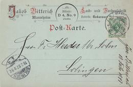 DR Farbige Werbekarte Lack-u. Farbenfabrik J. Bittner EF Minr.46 Mannheim 18.2.97 - Storia Postale