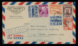 TREASURE HUNT [02201] Peru 1930s Reg. Air Mail Cover From Lima To Switzerland Bearing Multi-colour Franking, Framed Pmk. - Perú