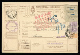 TREASURE HUNT [02894] Italy 1917 1.25 L Parcel Card Sent To Bienne, Switzerland Up-rated With 50c + 1 L Pair - Gebraucht