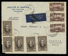 TREASURE HUNT [02906] Lebanon 1938 Front Cover Sent By Air Mail From Beirut To Geneva, Switzerland, W/ 4p (x5) + 1p (x3) - Libano
