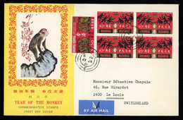 TREASURE HUNT [02909] Honk Kong 1968 Year Of The Monkey FDC Sent To Switzerland, Bearing $1.30 + 10c Block Of Four - FDC