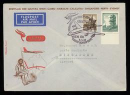 TREASURE HUNT [02913] Austria 1965 Souvenir Flight Cover Sent To Singapore Airport, Bearing 4,50 S +1 S, Special Pmk. - Posta Aerea