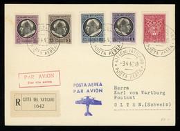 TREASURE HUNT [02930] Vatican 1940 Reg. Cover To Olten, Switzerland Bearing 5c+ Pope Piux XII 2.75 L + 2 L + 1.25 L +1 L - Briefe U. Dokumente