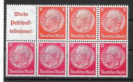 Deutsches Reich,  Postfrisches H-Blatt  Der Hindenburg-Ausgabe Von 1940 - Se-Tenant