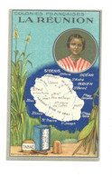 Chromo La Réunion Afrique Tabac Poivre Carte RARE 105x65 Mm PUB Félix Potin No Lion Noir TB  2 Scans Colonies Françaises - Andere