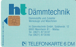 GERMANY - HT Dammtechnik GmbH(O 353), Tirage 1000, 11/92, Mint - Pubblicitari