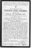 Vernimmen F.v. (gesneuveld  Moerzeke 1892 -opwijk 1914) - Religion & Esotérisme
