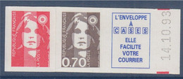 Marianne De Briat Dite Du Bicentenaire Neuf Adhésif N°5c De 0.70€ (2824) + Vignette + TVP LP (2807) Bord Daté 14.10.93 - KlebeBriefmarken