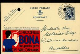 Publibel Obl. N° 58 ( Chicorée BONA) Obl. HOUDENG  1934 ( Trous De Classement !!!) - Publibels
