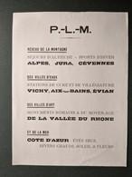 P.L.M. PLM  PUBLICITE ALCOOLISME TENUE EN RESPECT .. DU VIN TUBERCULOSE JACQUES BERTILLON CARTE DE FRANCE CULTURE - Railway