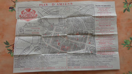 Somme. Carte Pliante Ancienne De La Ville D'Amiens Avec Nombreuses Publicités - Mapas Geográficas