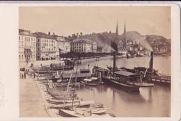Photo  CDV Albuminé Circa 1870 Suisse Lucerne  Vue Générale Péniches Bateaux   Photo AD Braun Dornach  Réf 9993 - Identified Persons