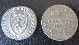 Nassau - 2 Monnaies : 1/2 Kreuzer 1813 + 1 Kreuzer 1862 - Piccole Monete & Altre Suddivisioni