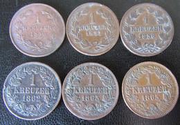 Baden - 6 X 1 Kreuzer 1850, 1852, 1856, 1862, 1863, 1865 - Piccole Monete & Altre Suddivisioni