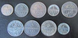 Prusse / Preußen - 9 Monnaies : 1, 2, 3 Pfennig Entre 1822 Et 1871 - Piccole Monete & Altre Suddivisioni