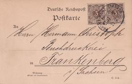 ALLEMAGNE 1893 CARTE ZUGSTEMPEL FRANKFURT-MAINZ-STRASSBURG - Storia Postale
