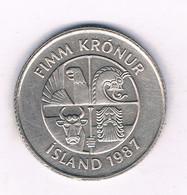 5 KRONUR 1987  IJSLAND /7153/ - Islandia
