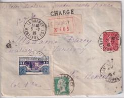 1925 - ENVELOPPE CHARGEE De LE RAINCY => RENEVE (COTE D'OR) - ARTS DECO + PASTEUR + SEMEUSE - Cartas