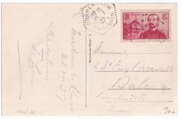 1937 - YVERT N°353 SEUL Sur CP De DURRENBACH (BAS-RHIN) CACHET HEXAGONAL ! => BALE (SUISSE) - 1921-1960: Moderne