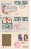 ED-119:FRANCE: Lot Avec 1er Jour Et Obl Sur Timbres Croix Rouge (1952(2)-1953 à 1959) - Lettres & Documents