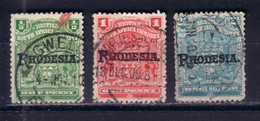 BRITISH SOUTH AFRICA COMPANY RHODESIA 1909 LOT SURCHARGES Mi 82-83, 85 USED - Other