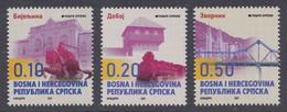 Bosnia Serbia 2021 Cities Architecture Monuments Horses Locomotives Trains Bridges Churches, Definitive Set MNH - Bosnia And Herzegovina