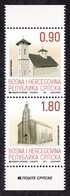 Bosnia Serbia 2021 Cultural Heritage Monasteries Religion Christianity Architecture, Set In Pair MNH - Bosnia And Herzegovina