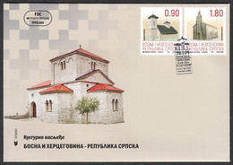 Bosnia Serbia 2021 Cultural Heritage Monasteries Religion Christianity Architecture, FDC - Bosnia And Herzegovina
