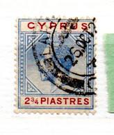 CHYPRE N° 76 2 1/2 PI BLEU ET LILAS GEORE V OBL - Zypern (...-1960)