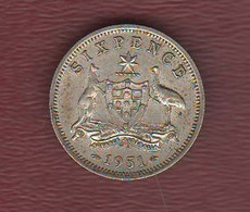 Australia 6 Six Pence 1951 King Georgius VI° Silver  Coin - Sixpence
