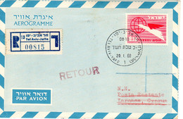 Israel-Cyprus 1960 Registered Uprated Air Letter, First Day PM Returned Postal Stationery Bale AS-21 - Airmail