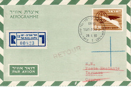 Israel-Cyprus 1960 Registered Uprated Air Letter, First Day PM Returned Postal Stationery Bale AS-22 - Airmail
