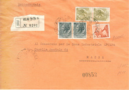 SIRACUSANA £.50+50+5+5+5 MICHELANGIOLESCA-VALORI GEMELLI 5+5-LETTERA RACCOMADATA-1964- TIMBRO POSTE MASSA - 1961-70: Marcofilie