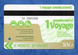 Titre De Transport Pour Un Voyage BUS Réseau TAO ( Région D' Orleans ) Dos Vierge - Europe