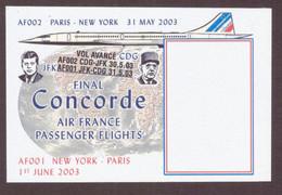 Vignette Bloc Concorde Final Air France Passenger Flights Paris New York 2003 Charles De Gaulle  Vol Dernier - Autres