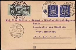 1924 Germany Berlin - Dessau - Constantinople (Istanbul) - Angora (Ankara) Junkers Luftpost First Flight Card - Covers & Documents