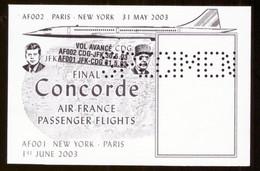 SPECIMEN Vignette Bloc Concorde Final Air France Passenger Flights Paris New York 2003 Charles De Gaulle  Vol Dernier - Autres
