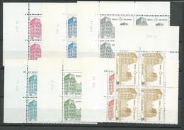 TR ENTRE 407 ET 415; 7 VALEURS ** EN BLOC DE 4 AVEC COINS DATES - 1952-....