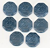 1921 // Sct. DES TRANSPORT EN COMMUN De La REGION PARISIENNE // 8 TICKETS METALLIQUES De 20 Centimes // Variété - Monetary / Of Necessity