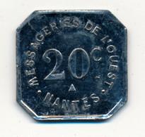 1905-1931 // NANTES (44) // BAC // MESSAGERIE DE L'OUEST // Vingt Centimes - Professionals / Firms