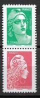 France 2021 Neuf **  N° 5496 + 5253A   - La Paire Verticale  Provenant Du Carnet C1528 - Unused Stamps