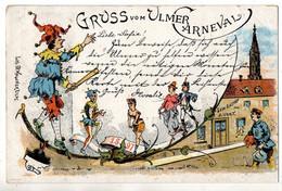 Litho Gruss Vom Ulmer Carneval 1897, 2 Bilder, Gel. 17.2.1897 - Ulm