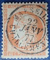 R1311/645 - CERES N°38 (pliure) - SUPERBE Cachet : MARSEILLE CHARGEMEMENTS Du 22 JANVIER 1877 - 1870 Beleg Van Parijs