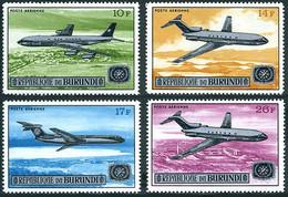 Burundi 1967 Boeing 707, 727, 727, Vickers VC-10 SABENA, Air Congo (YT PA 71, Michel 374, St Gibbons 325) - Airplanes