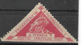 Privatpost Frankfurt, Guter Wert Der Ausgabe Der Privat & Circularbeförderung Von 1887 - Private