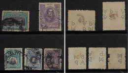 Peru 5 Stamp Perfin BM/AP ByBanco Mercantil Americano Del Peru American Mercantile Bank Of From Lima Lochung Perfore - Peru